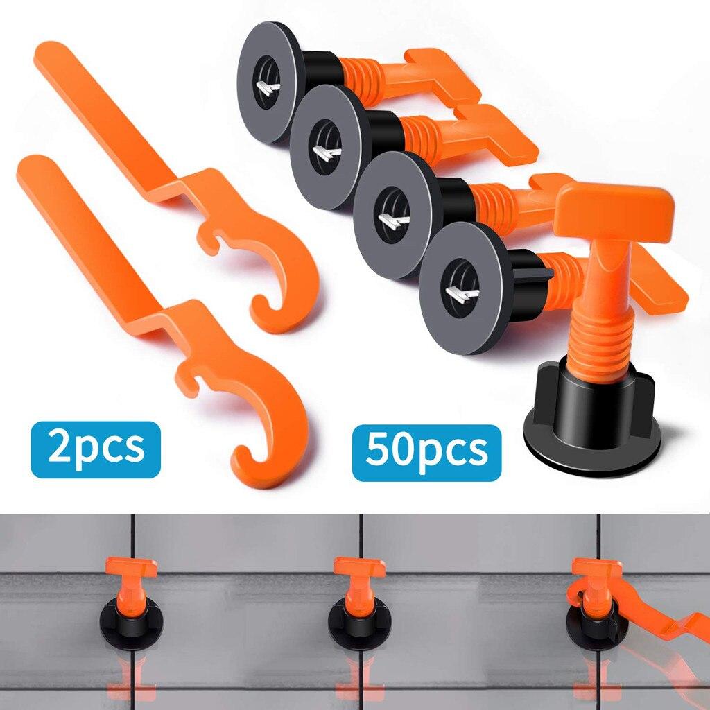 50pcs Plastic Flat Ceramic Leveler Floor Wall Construction Tools Reusable Tile Leveling System Kits