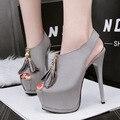 Frete grátis primavera das mulheres peep toe 14 cm altura do salto sapatos de salto alto slingback sapatos de plataforma único sexy