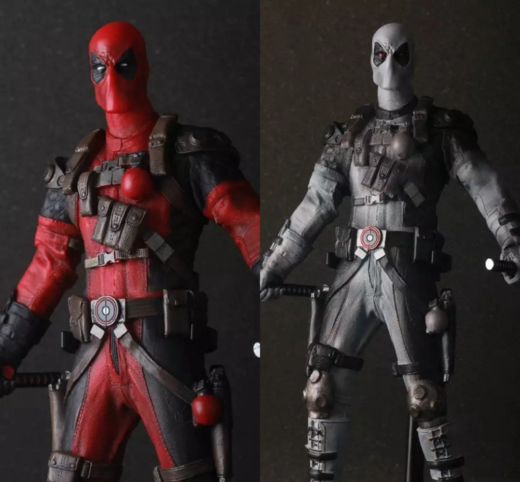 """Crazy Toys Deadpool PVC Action Figure Collectible Model Toy 12"""" 30cm red / sliver KT1930"""