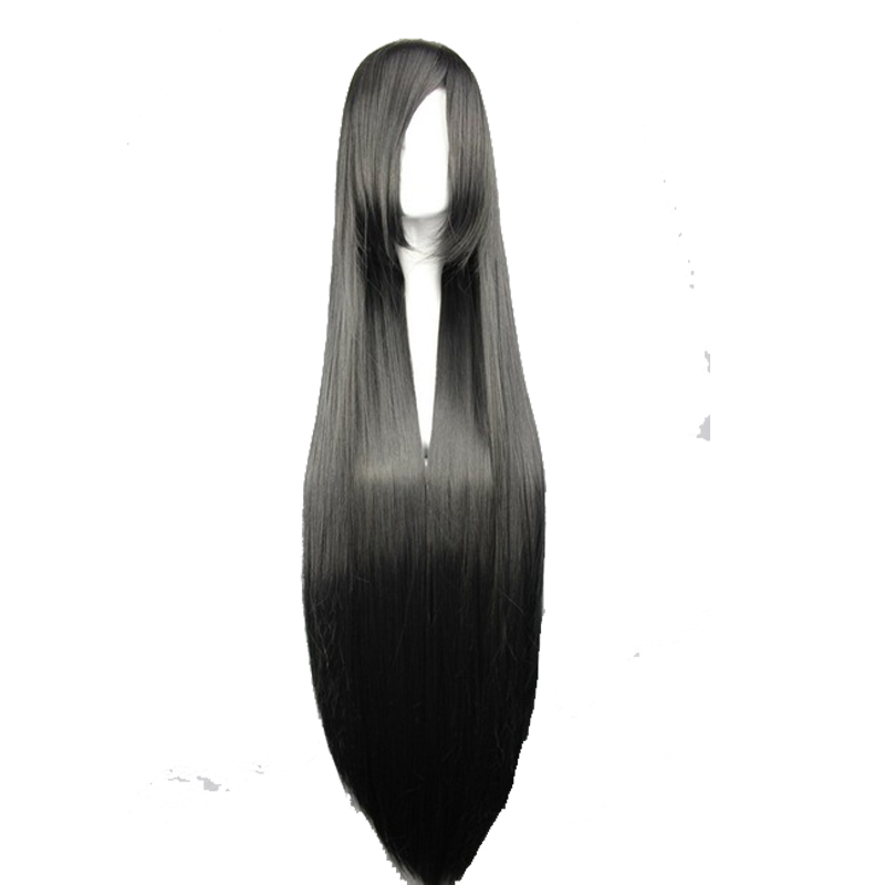 Your Style 15 Colors 100CM Long Straight  Cosplay Hair Wigs Women Black Brown White Blue Synthetic High Temperature Fiber