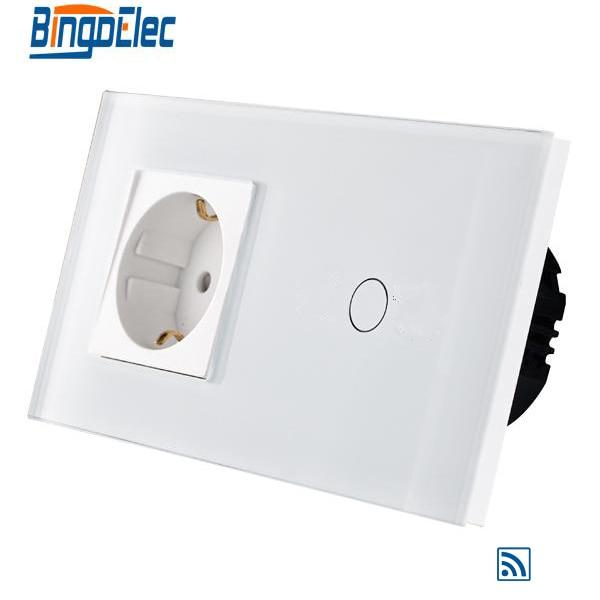 ФОТО EU standard 1gang 1way remote wall switch and Germany wall socket