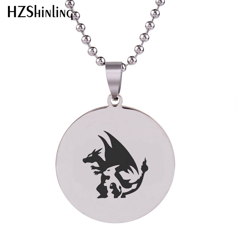 2018 New Charmander Pendant Charmeleon Stainless Steel Necklace Art Handmade Jewelry Ball Chain HZ7