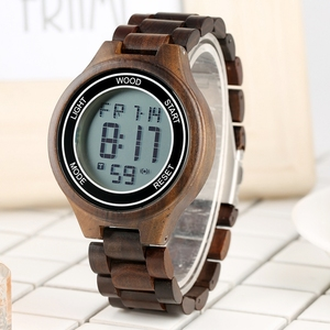 Image 5 - Montres rétro pour hommes, montre bracelet électronique en bois débène, fait à la main, en cuir, boisé Sport, horloge de luxe, LED