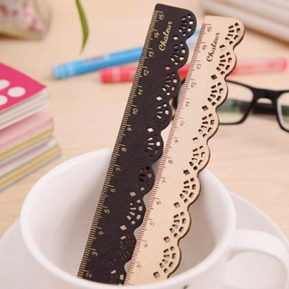 Limit Shows 1PC Korea Kawaii Cute Stationery Lace Wood Sewing Ruler Measuring Tapes School Office Supplies Measurement Tool