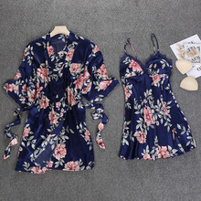 2018 Women Robe & Gown Sets Lace Satin Sleepwear Pajamas Flower Printed Nightwear Silk Home Clothing Sleep Lounge Chest Pads