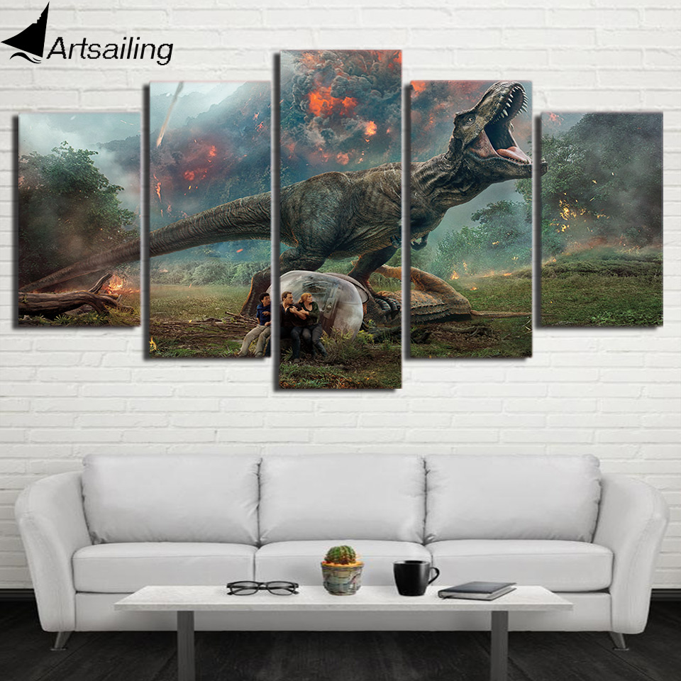 HD Printed 5 Piece Canvas Art Jurassic World 2 Volcanic Eruptions Canvas Prints Dinosaur Wall Pictures For Kids Room Decoration