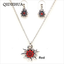QIDIEHUA Fashion Elegant Edelweiss Necklace Earrings Set