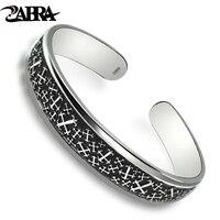 ZABRA Genuine 999 Silver Bangle Man Engraved Anchors Five Stars Retro Black Vintage Punk Cuff Bracelets For Women Men Jewelry