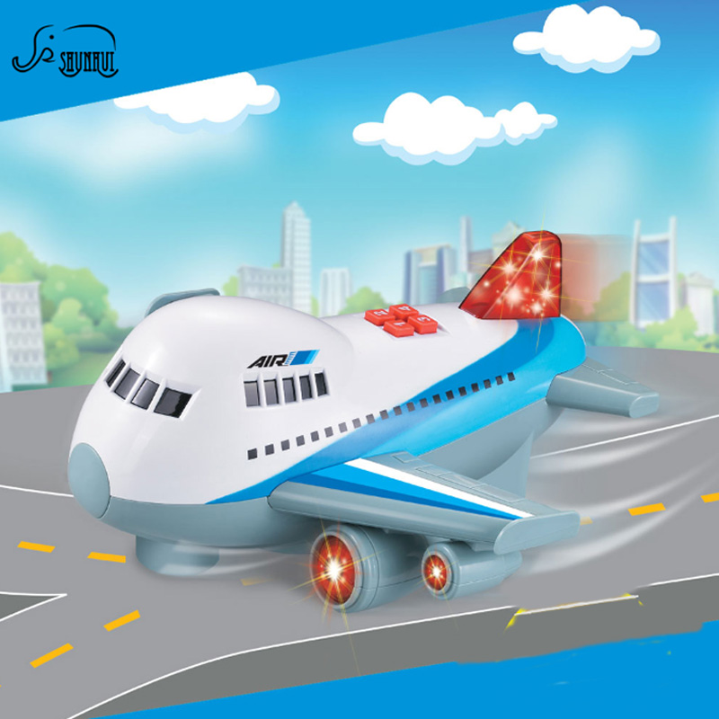 2017 Kids Mini Universal Plane Toy Electric Airplane Model Lighting Sound Airbus Automatic Steering Toys Xmas Gift for Children