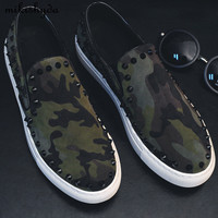 2017 Cheap Summer Dress Nail Rivets Men Loafers Luxury Camouflage Creeper Horse Hair Men Casual Leather Shoes Designer Sneaker