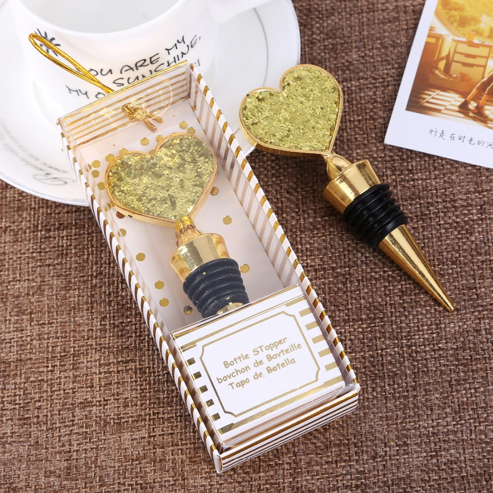 Us 125 0 50pcs Lot Creative Cheap Wedding Return Gifts Anniversary Souvenir Gold Heart Wine Bottle Stopper Bridesmaid Gift Party Favors In Party