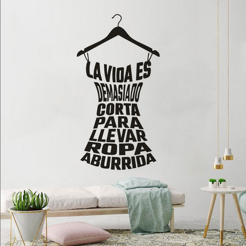 Spanish Clothes Rack Wall Decal Laundry Room Decoration Home Vinyl Clothes Rack Quote Walll Stickers Removable Poster XY09-in Wall Stickers from Home & Garden
