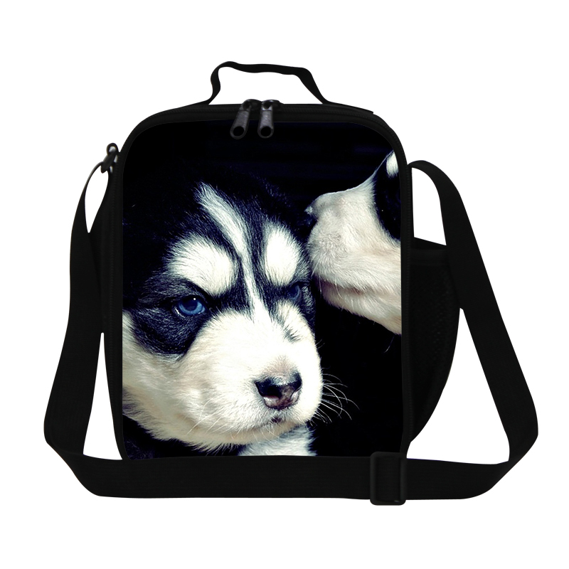 Cute dog 3D print insulated food bag for kids,teen boys lunch bag for school,shoulder thermal meal for girls students,womens bag