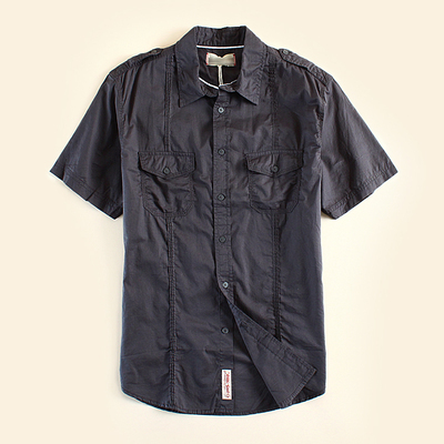 2017 Novos Homens Marca de Verão Camisas de Manga Curta Homens de Lavagem Com Água Business Casual Camisa De Algodão Homem Cinza Marinha De Alta Qualidade Tamanho SL