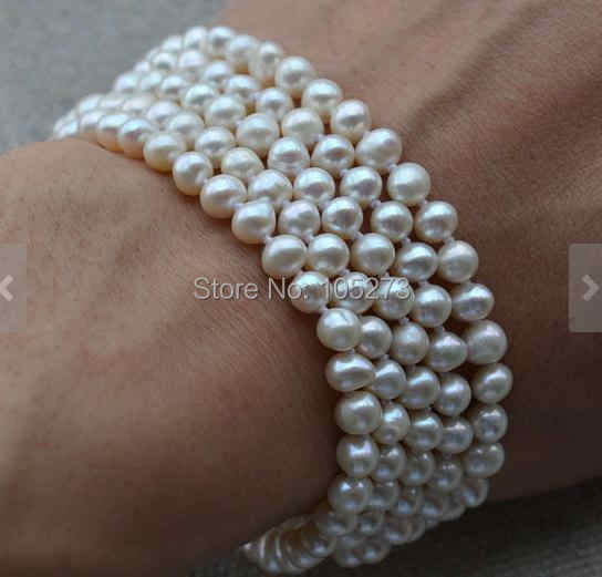 7.5 inches 5 rows Black Leather Cord Natural White Rice Pearl Bracelet