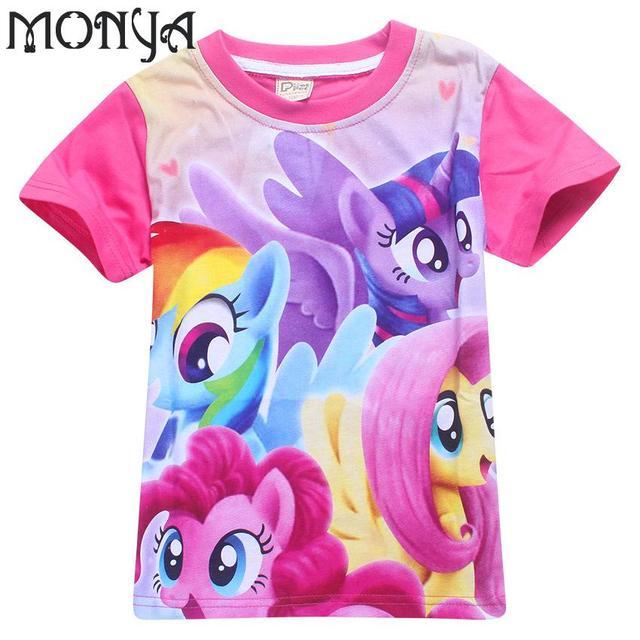 2017 My Little Pony мальчиков и девочек одежда Новый Моня Дети Вскользь Unisex Короткие Характер Регулярный О-Образным Вырезом Футболки