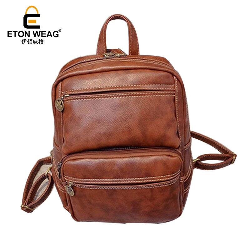 ETONWEAG Brands Litchi Rind Leather Schoolbag Backpack Women Brown Vintage School Bags For Girls Zipper BagPack Back To School рюкзак zipit zipper backpack pink brown zbpl 1