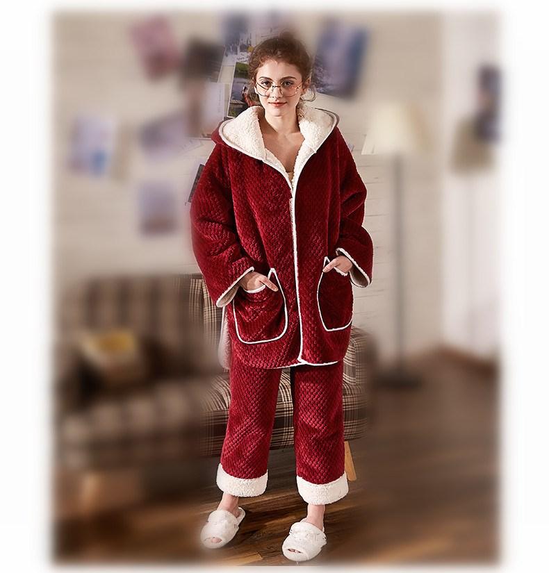 Conjuntos de pijama de flanela feminina de manga comprida calças terno quente coral veludo feminino terno sólido inverno moda com capuz pijamas