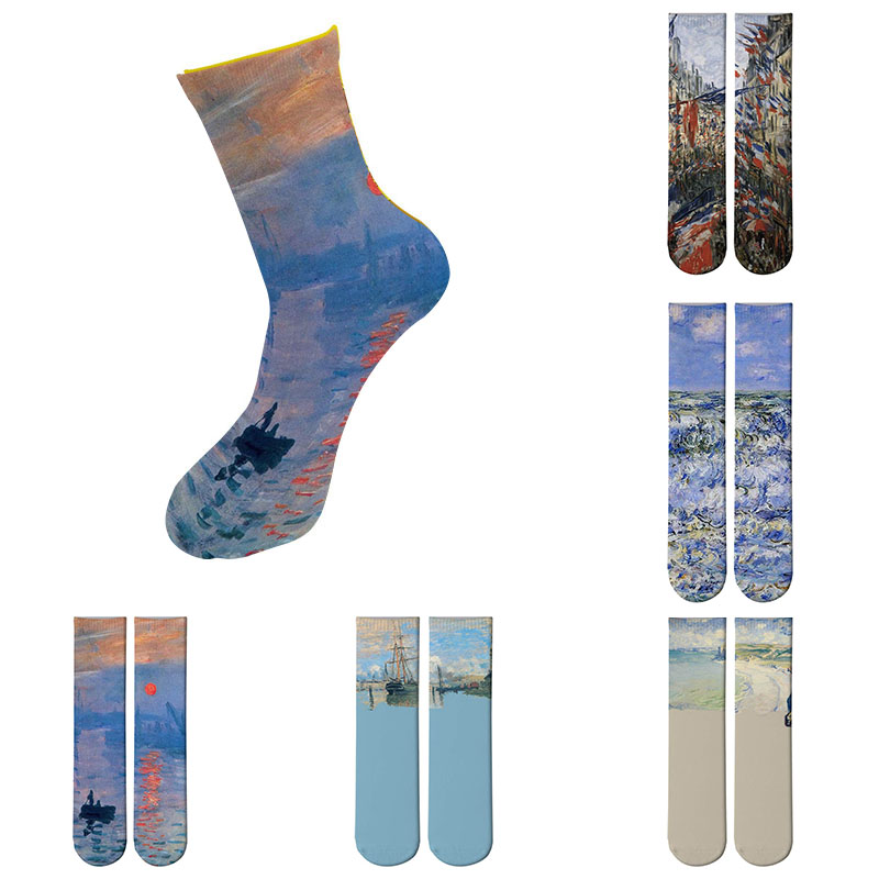 Funny Famous Oil Painting Art Socks Women's Men's Street Graffiti Van Gogh Mona Lisa Long Sock Harajuku Novelty Socks 8ZWL02