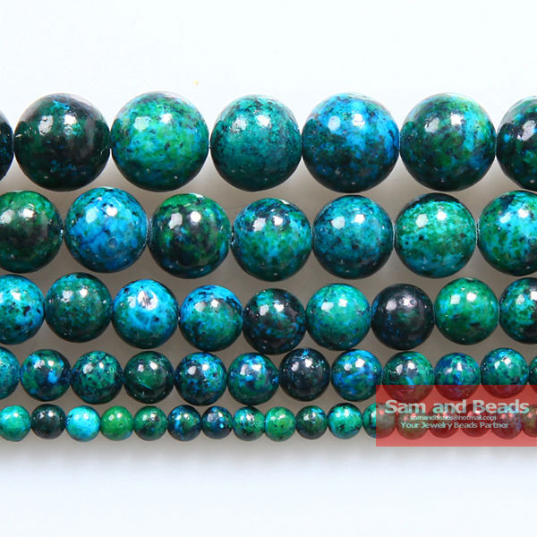 Wholesale 4.6.8.10.12. 14mm Chrysocolla Stone Round Loose Spacer Beads 16