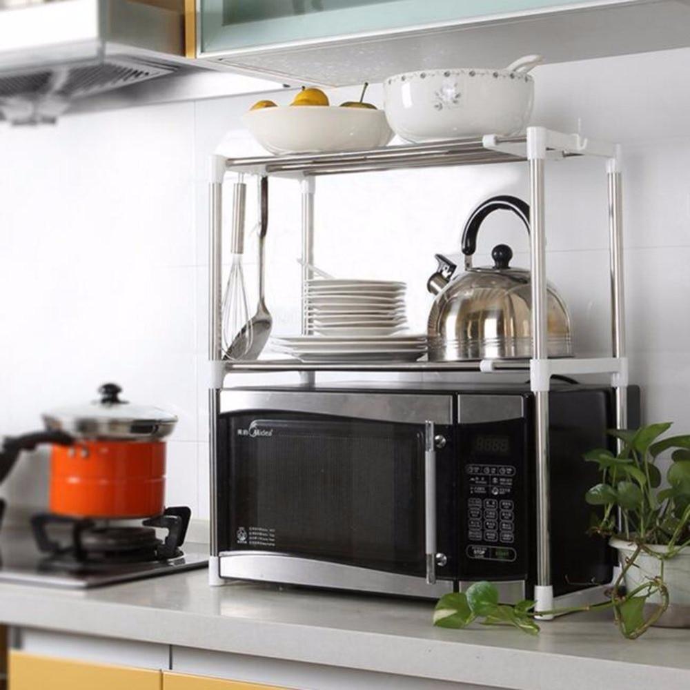 Kitchen shelves for microwave - Adjustable Stainless Steel Microwave Oven Shelf Detachable Rack Kitchen Tableware Shelves Home Storage Rack Cocina Holder