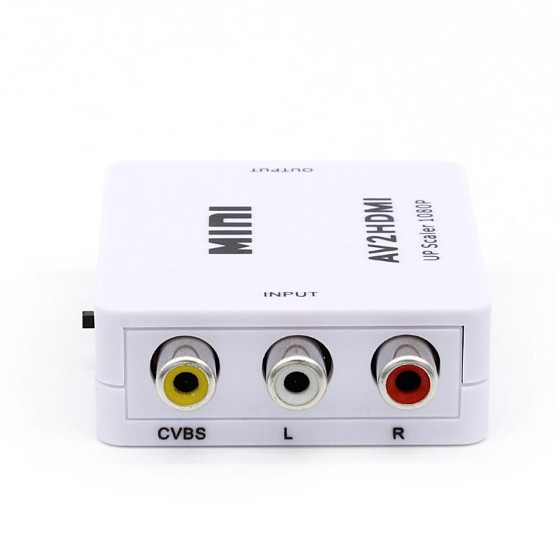 Amkle Mini AV to HDMI Video Converter Box AV2HDMI RCA AV HDMI CVBS to HDMI Adapter for HDTV TV PS3 PS4 PC DVD Xbox Projector