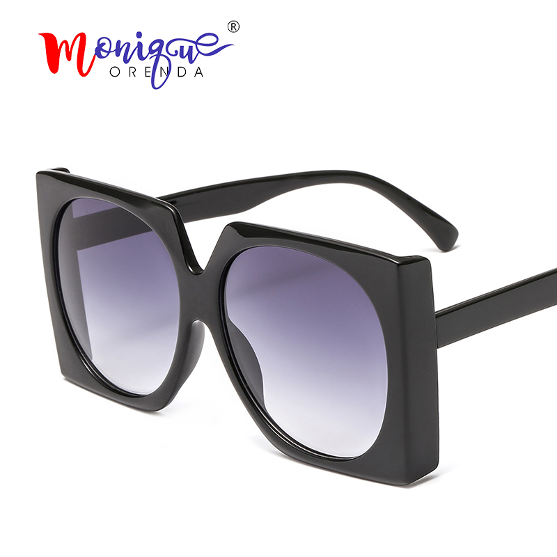 Square Sunglasses Big-Frame Ladies Shades Eyewear Gradient Vintage Women Brand Designer