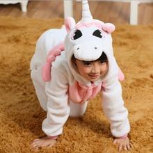Детская пижама с объемным изображением единорога; цельная одежда