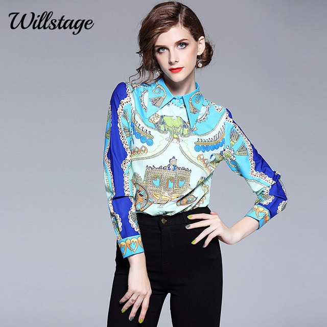 89d8d829d74 Willstage Vintage Women Shirt Blue Pattern Blouse Long Sleeve Elegant  Patchwork High quality Tops Formal new 2018 Autumn Clothes