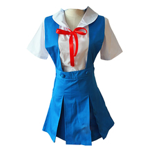 EVA Neon Genesis Evangelion Cosplay Ayanami Rei Women's Dress School Uniforms Anime Costumes Blouse Skirt Bow Tie rmdmyc neon genesis evangelion erza 1 8 scale painted pvc action figure toys cute eva maid dress rei ayanami