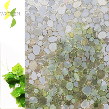 Vinyl No Adhesive 3D Static Cobble Stone Decorative Window Film,White Frosted Privacy Window Glass stickers for Bathroom Home