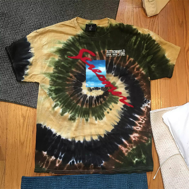 Travis Scott Astroworld Festival Run Tie Dye Tee T Men Women 1:1 Best Quality ASTROWORLD TRAVIS SCOTT t-shirts