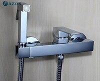 Туалет ручной Биде Shattaf ткань пеленки опрыскиватель шланг настенные хром Мебель для ванной комнаты горячей и холодной смесителя fxq019
