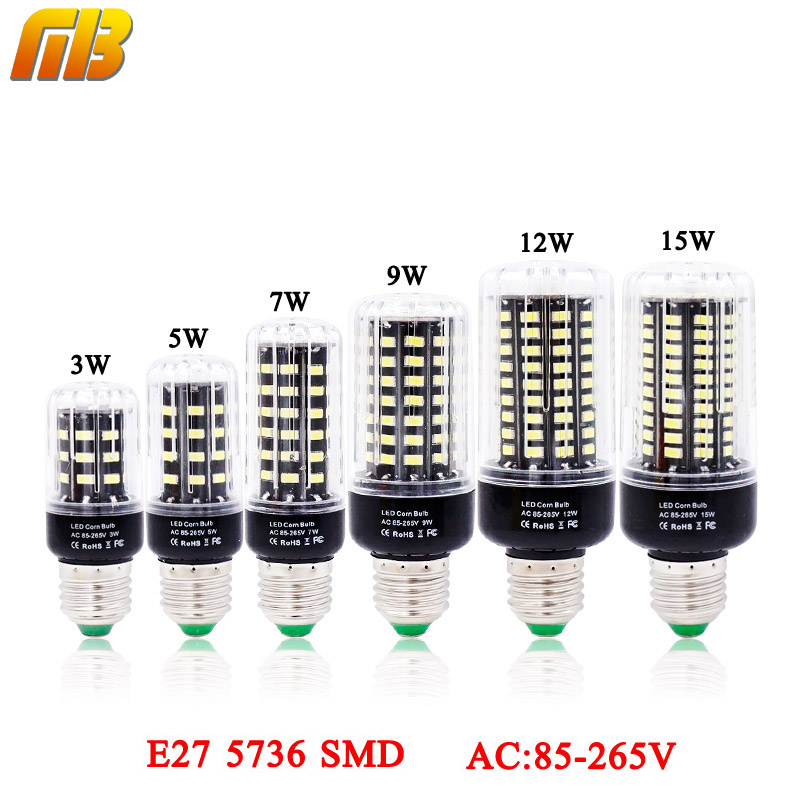 [MingBen]LED Bulb SMD 5736 E27 LEDs Lamp Light 3W 5W 7W 9W 12W 15W LED Corn Light AC85V-265V Lampada No Flicker Constant Current цена