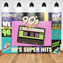 Mehofoto 90s Super Hits Backdrop Hip Hop Graffiti Wall Photo Background Dinosaur Retro Radio Birthday Party Photography