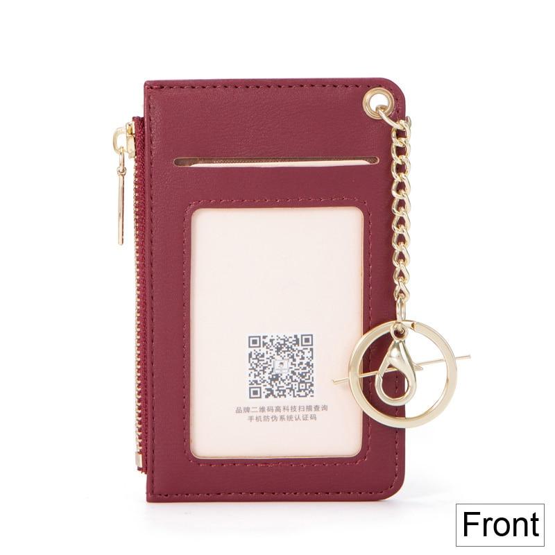 Brand Card Holder Women Soft Leather Key Chain Bag Small Card Wallets Female Organzier Mini Credit Card Case Zipper Coin Bags