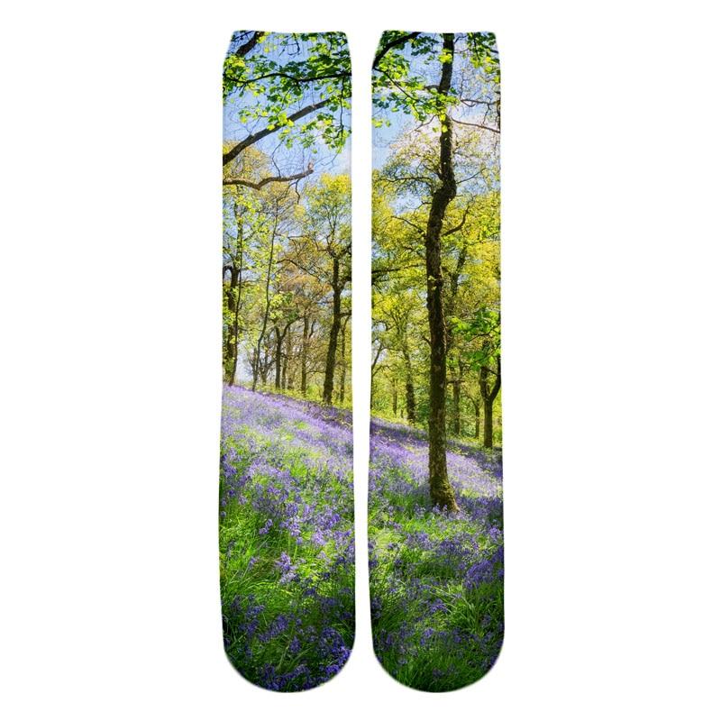 PLstar Cosmos 2018 New style Fashion Knee High Socks winter moraine lake alberta canada Print 3d Men's Women's Casual Sock 2