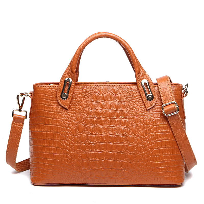 Crocodile leather bag Best Genuine Leather women handbag fashion shoulder bags cross body bag tote messenger bags gift for girls 2016 fashion spring and summer crocodile pattern japanned leather patent leather handbag one shoulder cross body bag for women