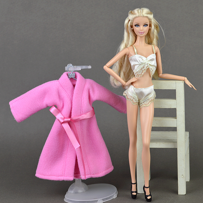 Underwear Bra and Panty Set in Pink with Nightie Made to Fit Barbie Doll