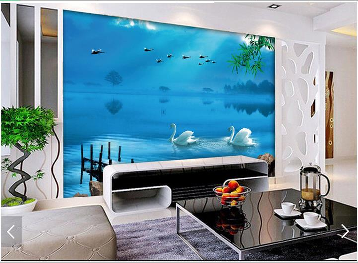 Custom 3d photo wallpaper wall murals Hd scenery background - a swan living room