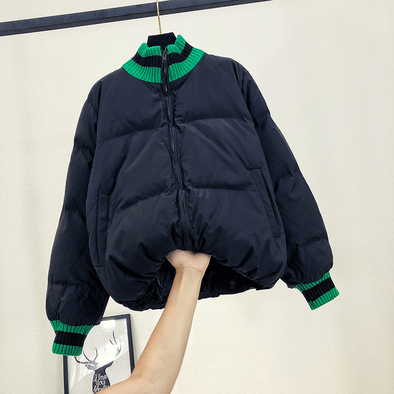 Clair Vent Femmes Coton Institut Lâche Nouvelle Vêtements Féminine Peng vert 2018 Colliers Mode Pour noir Beige Couleur Épais Robe Hiver Gao Automne FcJTK1l