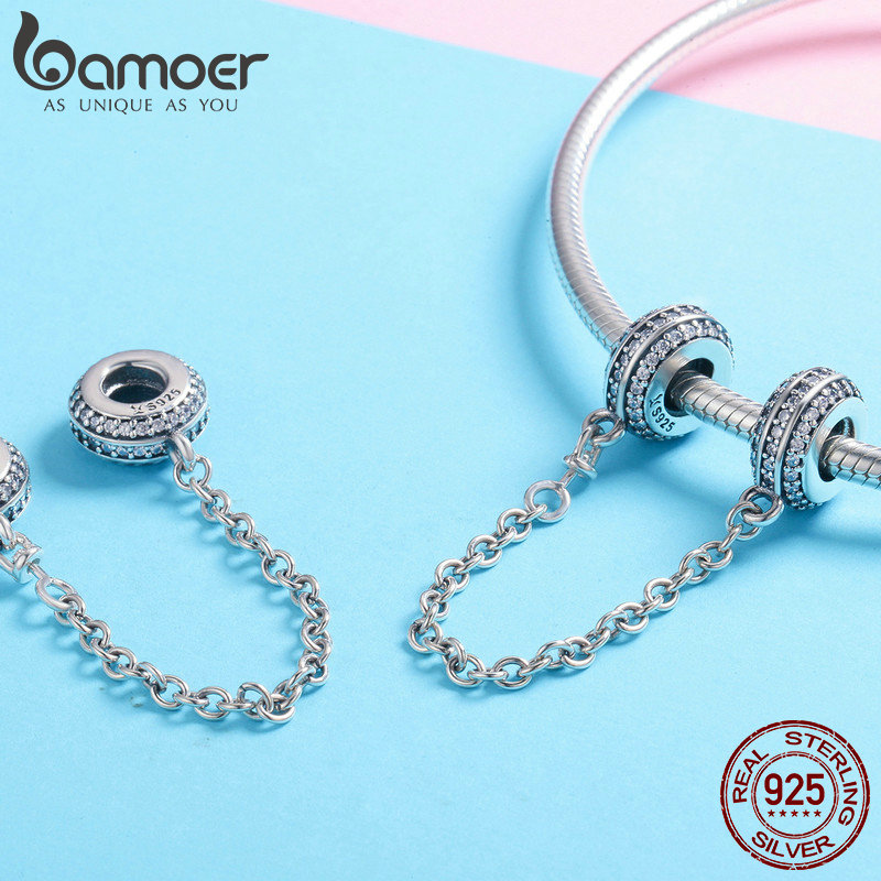 Image 3 - BAMOER New Collection 925 Sterling Silver Round Safety Chain Stopper Charm fit Women Bracelets DIY Jewelry Making Gift SCC812-in Charms from Jewelry & Accessories