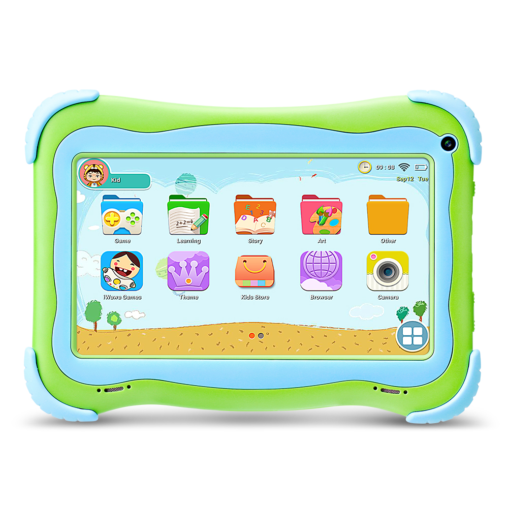 Yuntab green 7 Q91 Tablet PC Quad Core Allwinner A33 1GB+16GB Iwawa Software Games Educational with Dual Camera yuntab 7 inch q88 allwinner a33 quad core 512mb 8gb android 4 4 kids tablet pc hd screen dual camera