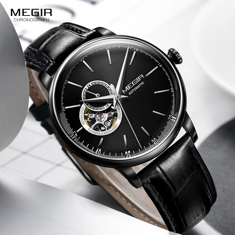 men s leather strap sports mechanical wrist watches clock army hand wind mechanical watch for man relogios masculino 62050gbk 1 Men's Black Leather Strap Mechanical Wrist Watches Casual Skeleton Premium Watch for Man Clock Relogios Masculino 62057G-BK-1