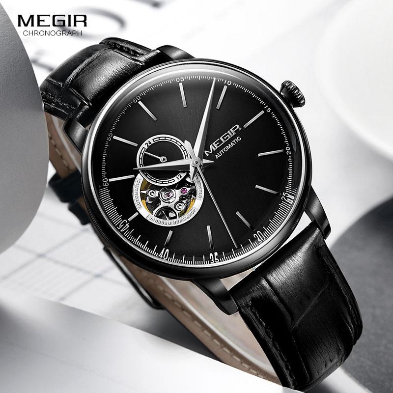 цена на Men's Black Leather Strap Mechanical Wrist Watches Casual Skeleton Premium Watch for Man Clock Relogios Masculino 62057G-BK-1