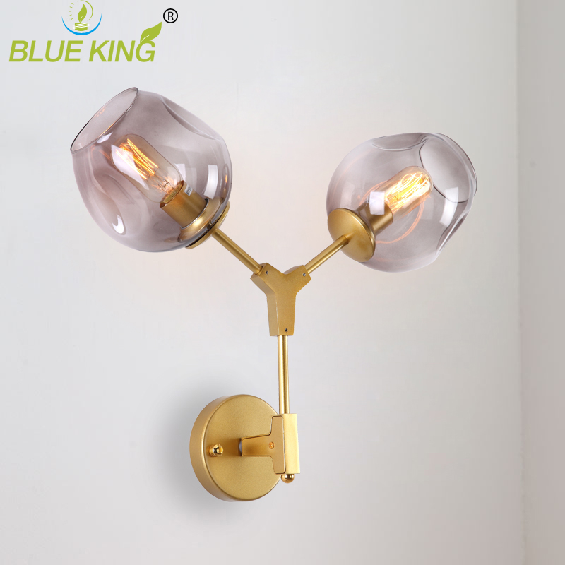 Simple creative 2 heads industrial restaurant glass wall light with gold color iron body for living room with amber glass shade