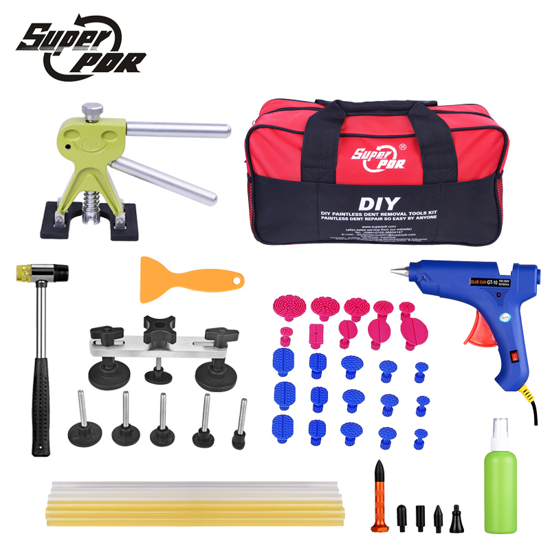 Super PDR Car Dent Repair Tools pulling bridge glue Puller glue gun dent tabs hand tool set 39pcs Dent removal tools kit pdr rods kit with slider hammer dent lifter bridge puller set led line board glue stricks pro pulling tabs kit for pop a dent