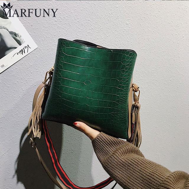 MARFUNY Tassel Shoulder Bag Female Vintage Crossbody Bags For Women 2019 Bucket Bag Alligator Handbags Designer Scrub Daily Sac