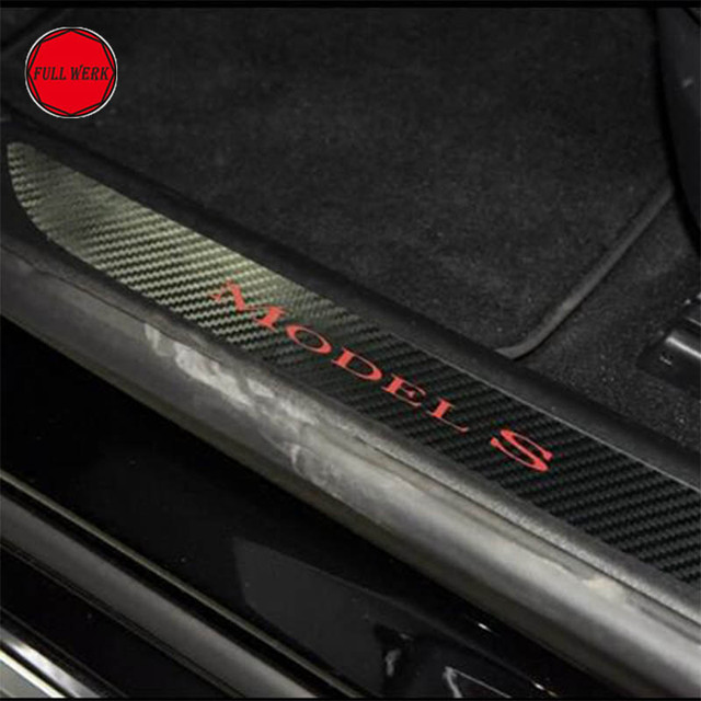Car Door Sill Welcome Pedal Sticker Decal Styling Protector Guard For Tesla Model S Interior Accessories Pack Of 2 Pcs