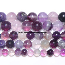 Piedra púrpura Natural fluorita suelta perlas redondas 15